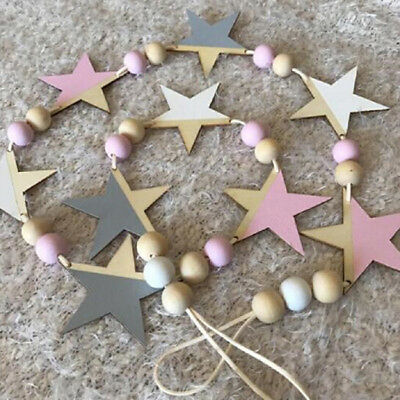 Nordic Wooden Beads Stars Hanging Banners Wall Hanging Decor DIY Girls Room 8C