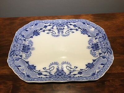 Burgess & Leigh English Ironstone Flow Blue Raleigh Turkey Meat Platter Tray