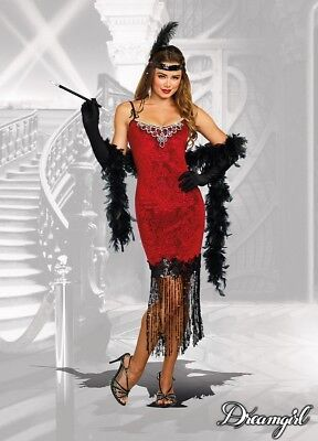 Dreamgirl Ruby Red Flapper Dress 1920s Adult Womens Halloween Costume 11164