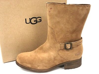 1b97bc74ff4 NEW UGG AUSTRALIA Women's Brown 'Patsy' Ankle Buckle Leather Boots ...