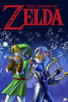 Legend of Zelda Link and Sheik Song Poster 12x18 Inch