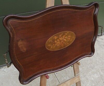 Antique Edwardian Inlaid Mahogany Serpentine Tray with Marquetry Panel