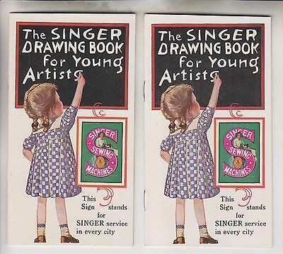 2 Circa 1928 Booklets The Singer Drawing Book For Young Artists - The Singer 20