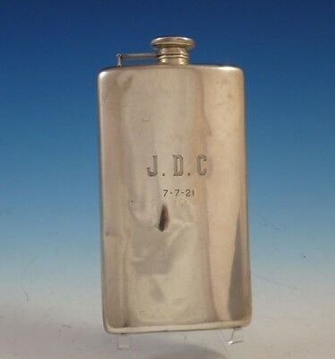 "Meriden Brittania Sterling Silver Flask with Mono ""J.D.C"" 8"" x 4 1/2"" (#2460)"