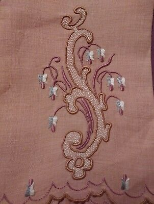 """1 Beautiful Madeira Embroidered  Linen Hand Towels 14"""" by 8"""""""