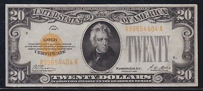 US 1928 $20 Gold Certificate FR 2402 VF (404)