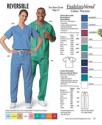Fashion Seal Unisex Reversible set-in sleeve scrub shirt 55% coton/45% polyester