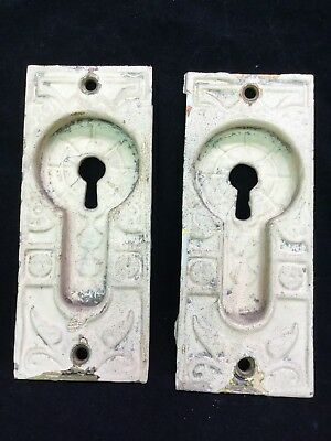 Pair 2 Brass Antique Victorian Eastlake Pocket Door Pulls Handles Lock Plates