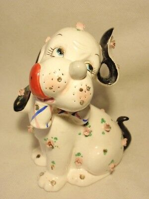 Vtg Napco Ceramic Puppy Dog with Flowers Coin Bank *As-Is*