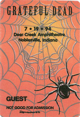 Grateful Dead  _RARE_ 7/19/1994 Noblesville IN Backstage Pass - Reonegro Art