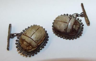 Antique, Egyptian Revival Scarabs Set in Sterling Silver Cufflinks