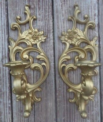 "Vintage Syroco Inc. Gold Wall Sconces Matching Candle Holders 13"" 5133"
