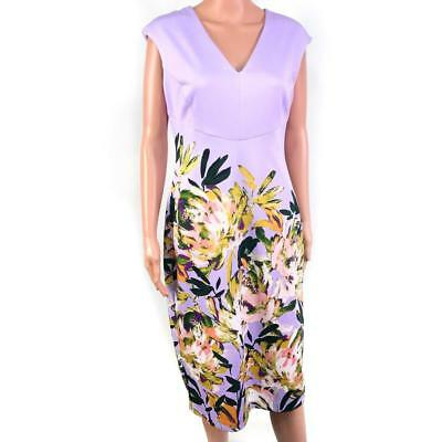 6ecf786e98 Maggy London Women s Lilac Purple Floral Sheath Dress Size 10 V-neck Mid  Length