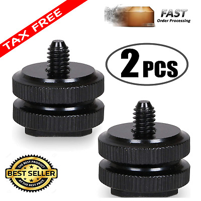 "Camera Hot cold Shoe Mount 1/4""-20 Tripod Screw Adapter Flash DSLR Rig 2 Pieces"