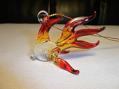 Hanging Fish Red Yellow Figurine of Blown Glass Crystal