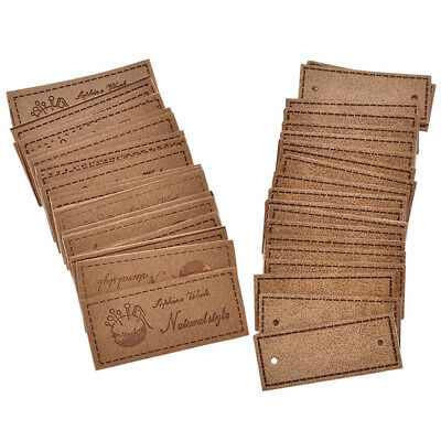 20 Pc Vintage PU Leather Handmade Label Tag Embroidered Brown Sewing Craft Patch
