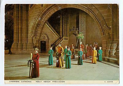 A1197cgt UK Liverpool Cathedral Holly Bough Procession Pu1978 postcard