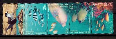 M0129sbs Christmas Island 1998 Marine Life 25c MUH Strip of Stamps