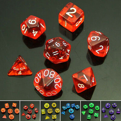 1 Set Dice 7 Polyhedral Sided For Dungeons&Dragons Game Plastic Board Games Kit