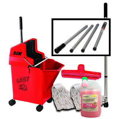 Heavy Duty Mop Bucket on Wheels Mop handle pH Neutral Cleaner SYR Set - RED