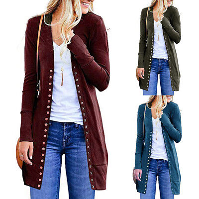 Womens Open Front Button Down Cardigan Sweater Long Sleeve Plus Loose Drape