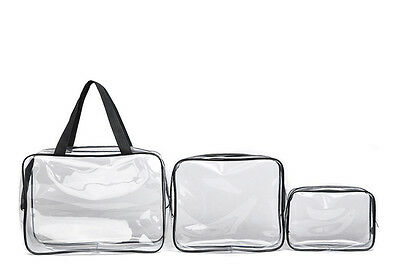 3pcs Clear PVC Cosmetic Bags for Toiletries Makeup Wash Bag Travel Set
