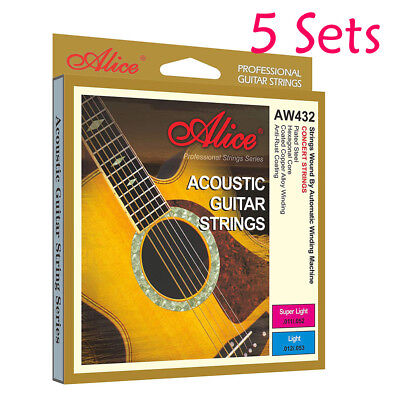 5X Alice Plated Steel Acoustic Guitar Strings AW432 Hexagonal Core Metal Wire