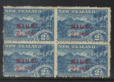 NIUE 1902 SURCH SG2a IN BLOCK WITH x 3 SG2 CAT £32+