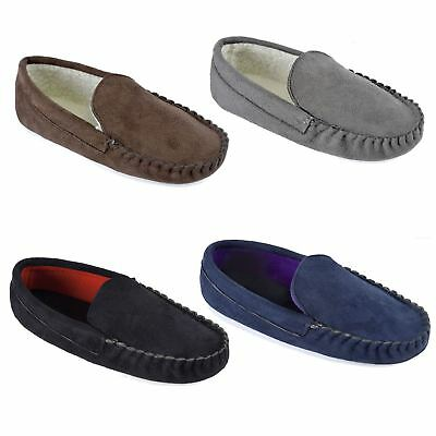 Mens Faux Suede Moccasin Slippers Fleece linning Size 7-12