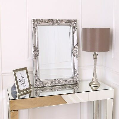 Haywood Wall Mirror - French Baroque Rococo Chic Style- 50x70cm - Antique Silver