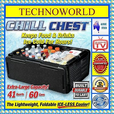 Chill Chest Lightweight Ice-Free Cooler+Keeps Food & Drink Hot/cold+Foldable Upp
