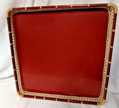 Japanese  Red Wood w/ Wicker Trim Lacquer Tea Food Serving Tray Made in Japan