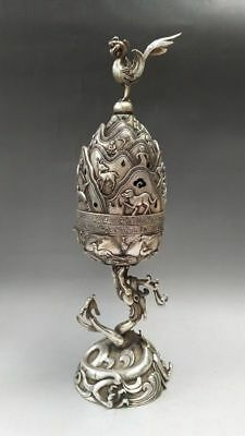 China's Tibetan silver incense burner is a pure hand-carved animal statue