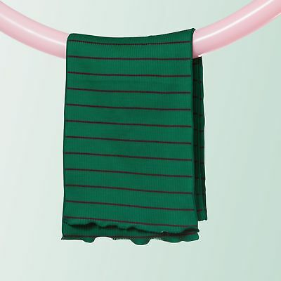 Kid's Ribbed Cotton Scarf (Stripe   Green)