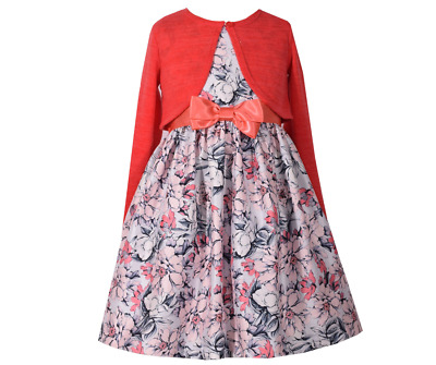 Bonnie Jean Big Girls Easter Holiday Floral Pink Dress With Cardigan 7-20 1//2