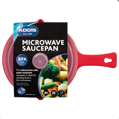 Addis Microwavable Saucepan With Lid Non-Stick And Stain Resistant 900ml