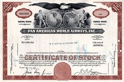 Ten (10) Pan American World Airways of New York 1960's Stock Certificates -Brown