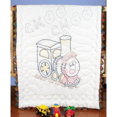 "Fairway Stamped Baby Quilt Top 36""x50""-train - Train 36x50train"