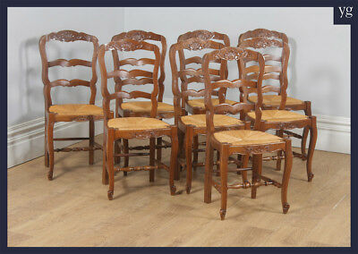 Antique Set 8 Eight French Louis Oak Ladder Back Rush Seat Kitchen Dining Chairs