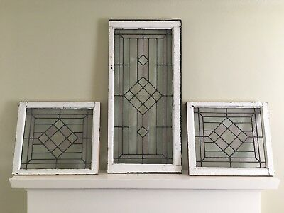 Vintage Beveled Stained Glass Window Set Triplicate