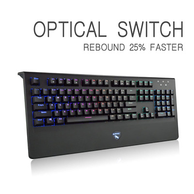 Mechanical Gaming Keyboard Optical Axis Switch Wired 104 keys RGB Backlit NEW