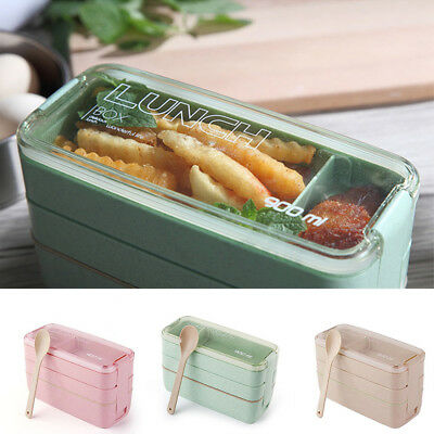 Kids School Bento Box 3-layer Lunch Box Oven Dishes Food Container Microwave
