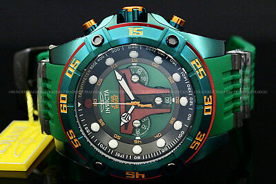 "Invicta STAR WARS Men's 52mm ""BOBA FETT"" Limited Edition Green Chono Strap Watch"