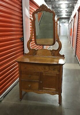 Early 1900's Antique Vanity Dresser with Mirror Tiger maple Not Oak