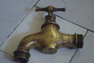 Antique Vintage Yard Tap Valve Heavy Solid Brass Garden Yard 19.5 X 20cm