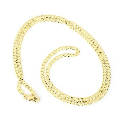 """Unisex Solid 14k Yellow Gold Comfort Cuban Curb 2.6mm Chain Necklace, 20"""""""