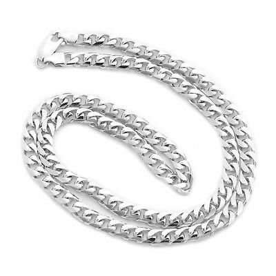"""Beauniq  Solid 14k White Gold 5.5mm Heavy Miami Cuban Link Chain Necklace 24"""""""
