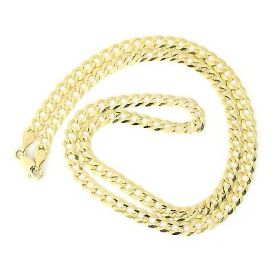"""Men's Solid 10k Yellow Gold Comfort Cuban Curb 4.7mm Chain Necklace, 22"""""""