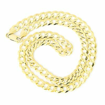 """Men's Solid 14k Yellow Gold Comfort Cuban Curb Heavy 7mm Chain Necklace, 24"""""""