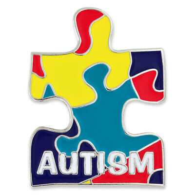 PinMart's Autism Awareness Puzzle Piece Enamel Lapel Pin with a Magnetic Back